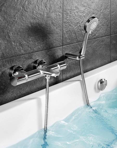T-1000 Thermostatic wall-mounted bath-shower mixer with diverter-flow regulator