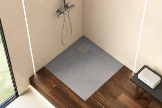 Terran shower tray with cement finish