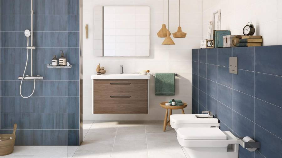 Bathroom with Colette tiles in dark colours