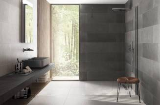 Bathroom with Masai tiles in dark colours