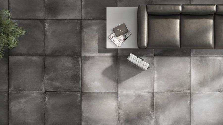 Bathroom with Derby tiles in dark colours